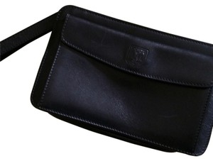 Céline Leather Vintage Clutch Calfskin Wristlet in Black