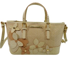 Brahmin Mini Asher Flowers Crossbody Satchel in Creme Miramonte