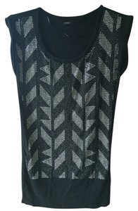 Guess Beaded Embellished Bejeweled T Shirt Black