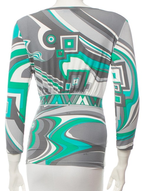 Emilio Pucci Green White Grey Longsleeve Top Multicolor