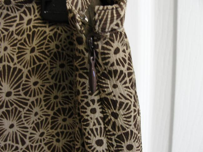 Villager Gored Ruffle Lined Skirt Chocolate Brown and Tan Flowers