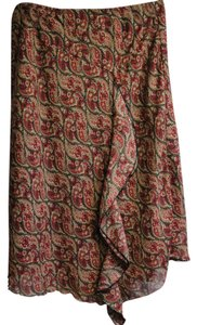 J. Marco Ruffle Lined Skirt Red, Black & Tan Paisley