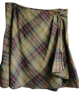 Chaps Classic Wrap Skirt Olive, Burgundy & Green Plaid