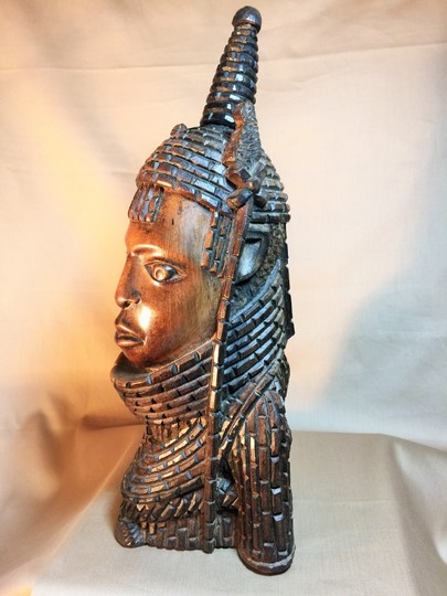 Other Benin Oba (King) Bust; African Wood Carving (13H' x 6.5W