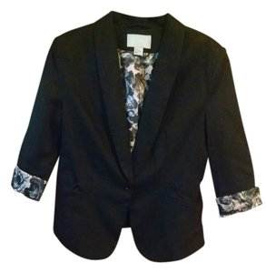 H&M 3/4 Sleeve Floral Work Sateen Business Casual Night Out Date Night Black Jacket