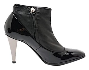 Giuseppe Zanotti Gunmetal Leather Patent Patent Leather Black Boots