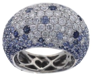 Other BRAND NEW, Ladies 18K White Gold Diamond and Blue Sapphire Cocktail Ring