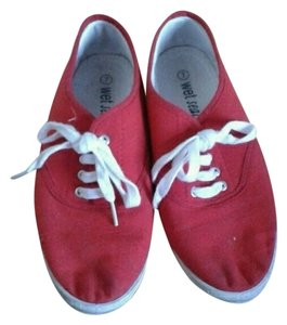 Wet Seal Plimsolls Vans Sneakers Canvas Red Flats