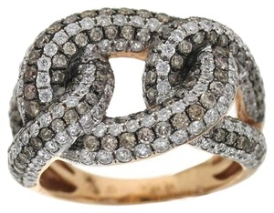 Other BRAND NEW, Ladies 18K Rose Gold White and Brown Diamond Link Cocktail Ring