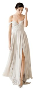 Sarah Seven Grey Silk Chiffon Quincy Feminine Wedding Dress Size 6 (S)