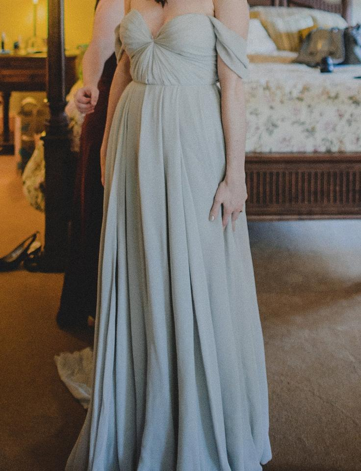 Sarah Seven Grey Silk Chiffon Quincy Feminine Wedding Dress Size 6 ...
