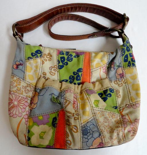 Fossil Canvas Patterned Floral Leather Cross Body Bag