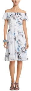 White House | Black Market short dress White with Blue flowers Floral on Tradesy