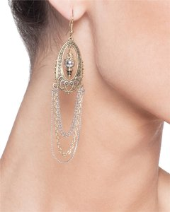 JEWELMINT Jewelmint Gold and Silver Drop Chain Bead Chandelier Earrings