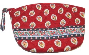 Vera Bradley Red Leaf Flower Quilted Cotton Cosmetic Makeup Make Up Bag