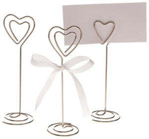 200 - Silver Heart Wedding Place Card Holders Photo Clips Table Top