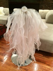 Ivory Chiffon Ruffle Chair Back/chair Tie (set Of Two)