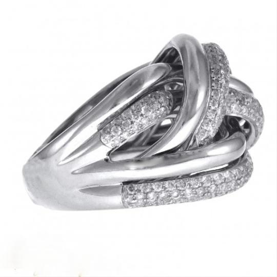 Other BRAND NEW, Ladies 18k White Gold Diamond Cocktail Ring with Criss Cross Design