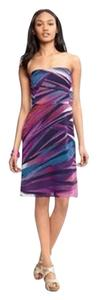 Banana Republic Strapless Knee Length Colorful Graphic Print Summer Dress