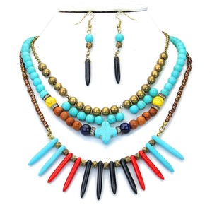 Other Layered Multicolor Howlite Turquoise Exotic Tribal Boho Chic Necklace and Earring