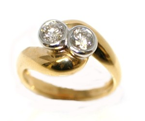 Double Zero Two Tone Love Engagement Ring