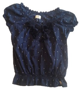 Abercrombie & Fitch Polka Dot Top Navy