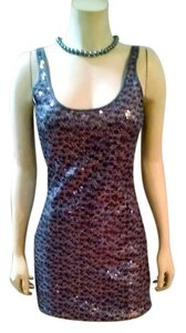 Express short dress gray, silver, purple Mini Body Con Sequins Above Knee Size X-small Xs Sleeveless P1527 on Tradesy
