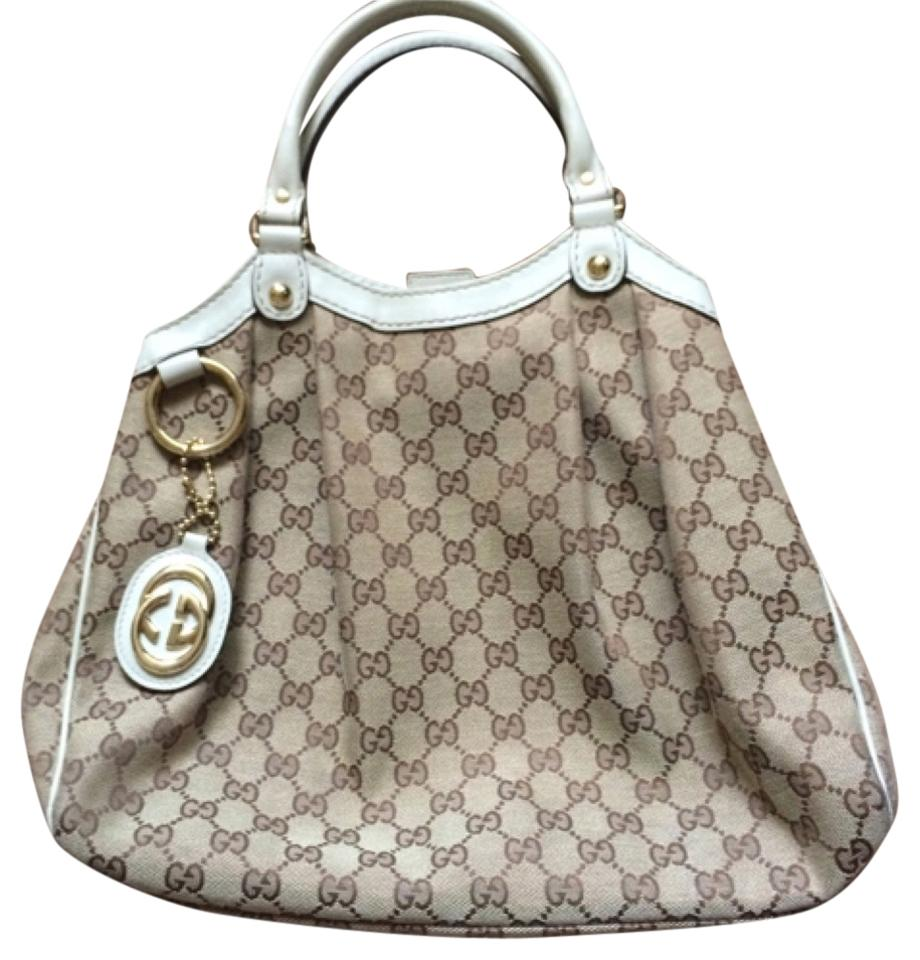 4e020be46c13 Gucci Sukey Medium Gg Canvas Beige Fabric with Off White Leather ...