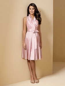Alfred Angelo Pink Taffeta Style 6568 Casual Bridesmaid/Mob Dress Size 6 (S)