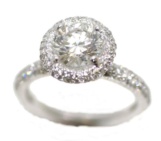 Platinum Micro Pave Engagement Ring