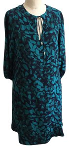 Akiko short dress Teal + Navy Summer Silk Boho on Tradesy