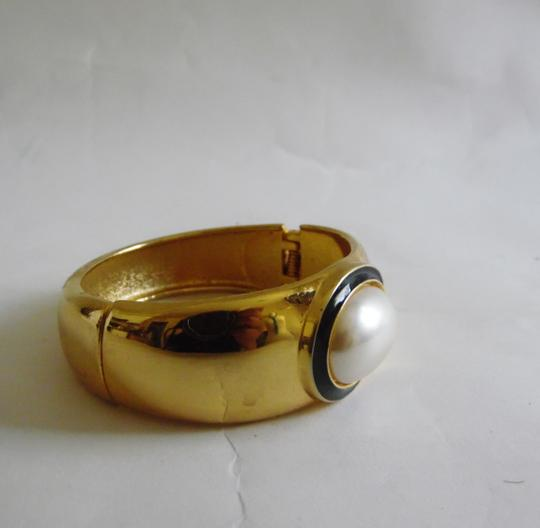 Other Faux Pearl Hinged Cuff Bangle Bracelet size 7 1/2