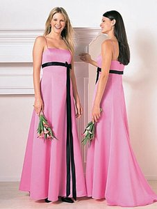 Alfred Angelo Pink/Black Satin Style 6133 Formal Bridesmaid/Mob Dress Size 8 (M)
