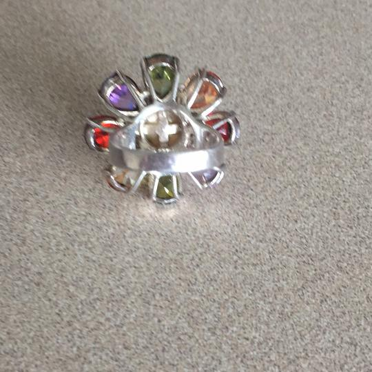 Henri Bendel Set of multicolor stones and pearl ring with matching necklace charm, sterling silver