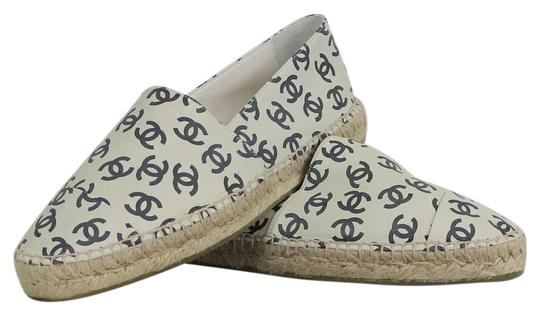 Chanel Leather Lambskin Espadrilles White and black Flats