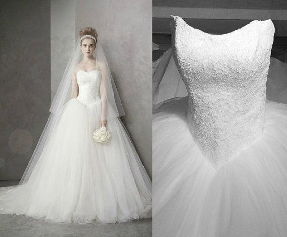 White by Vera Wang Ivory Chantilly Lace Tulle Vw351135 Formal ...