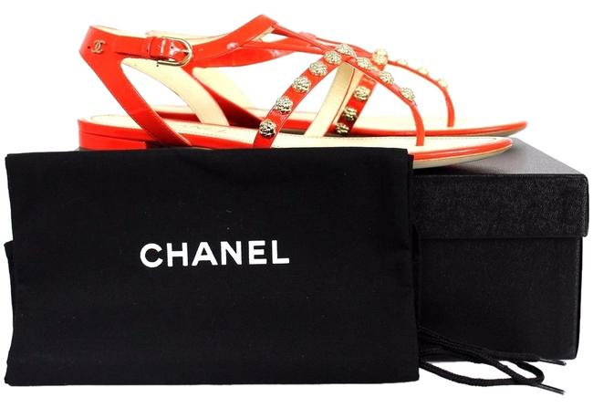 Item - Orange Patent Leather Gold Camellias. Sandals Size US 7.5 Narrow (Aa, N)