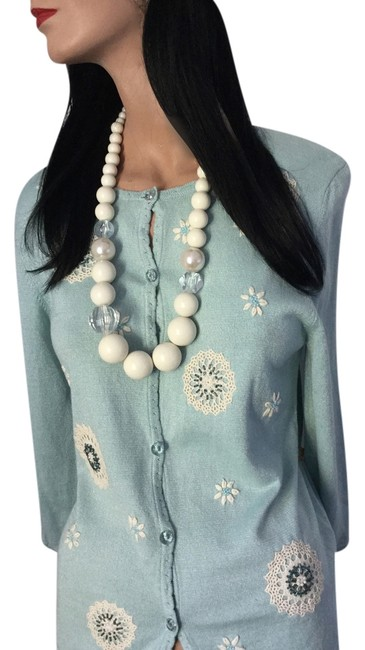 Preload https://item2.tradesy.com/images/alfred-dunner-turquoise-green-ivory-new-crochet-dandelion-flowers-make-a-wish-glass-beads-pearls-car-4411531-0-2.jpg?width=400&height=650