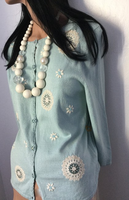 Alfred Dunner Glass Buttons Beads Pearls Sweater Flowers Wish Dandelion Sweater Crochet Sweater Crochet Dandelion Sweater Cardigan