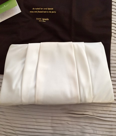 Kate Spade Dustbag Dust Dust Wedding Belles Small New April White And Gold Gold And White Gold Gold Satin Satin Cream Clutch