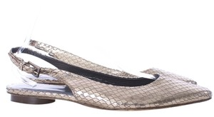Stuart Weitzman Snakeskin Leather New Gunmetal Flats