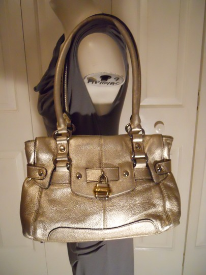 B. Makowsky Leather Satchel in gold