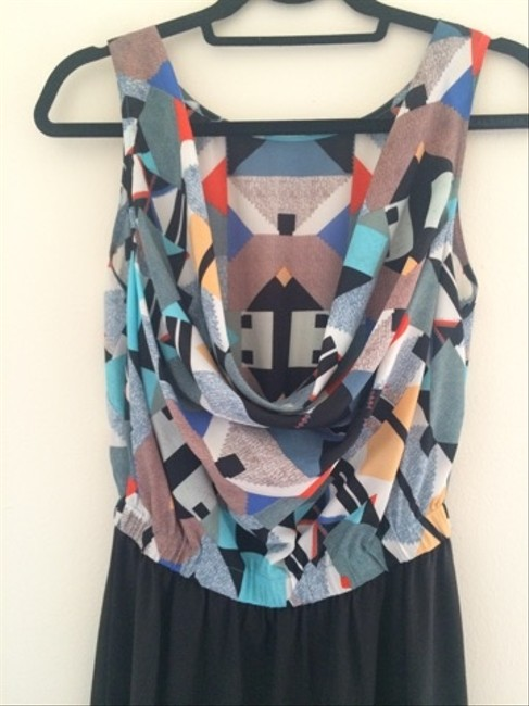 Twelfth St. by Cynthia Vincent Geometric Multicolor Patterned Silk Dress