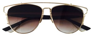 Dior Technologic 57MM Pantos Sunglasses Gold Black/Brown Shaded