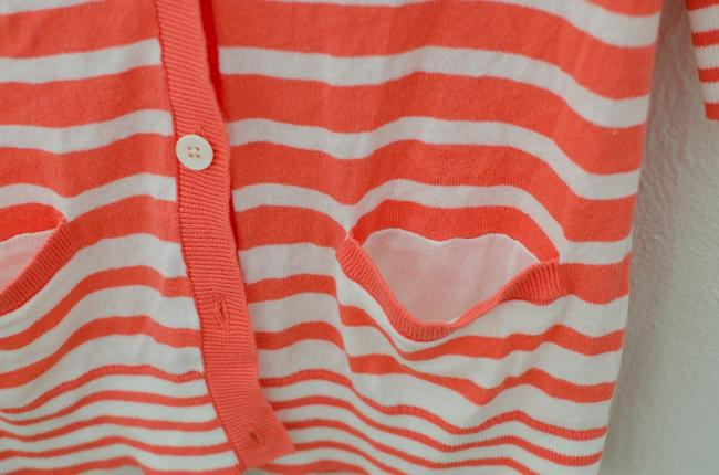 Gap Coral Striped Stripes Cardigan