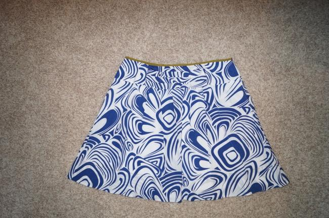 CAbi Skirt White, blue. olive green lining