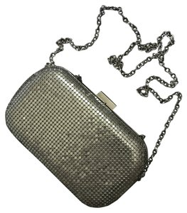 Expressions Hardware Chain Metallic Embellished Silver Clutch