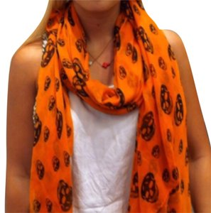 Other Orange Skull Print Scarf