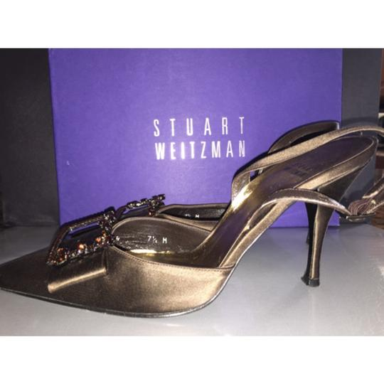 Stuart Weitzman Brown Copper Jewel Jeweled Embellished Wedding Holiday Evening Party Night Out Tory Burch Chanel Gucci Sling Slingback Bronze Formal