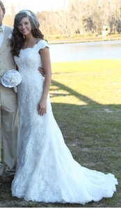 Oleg Cassini Ivory Chantilly Lace Cwg533 Vintage Wedding Dress Size 2 (XS)